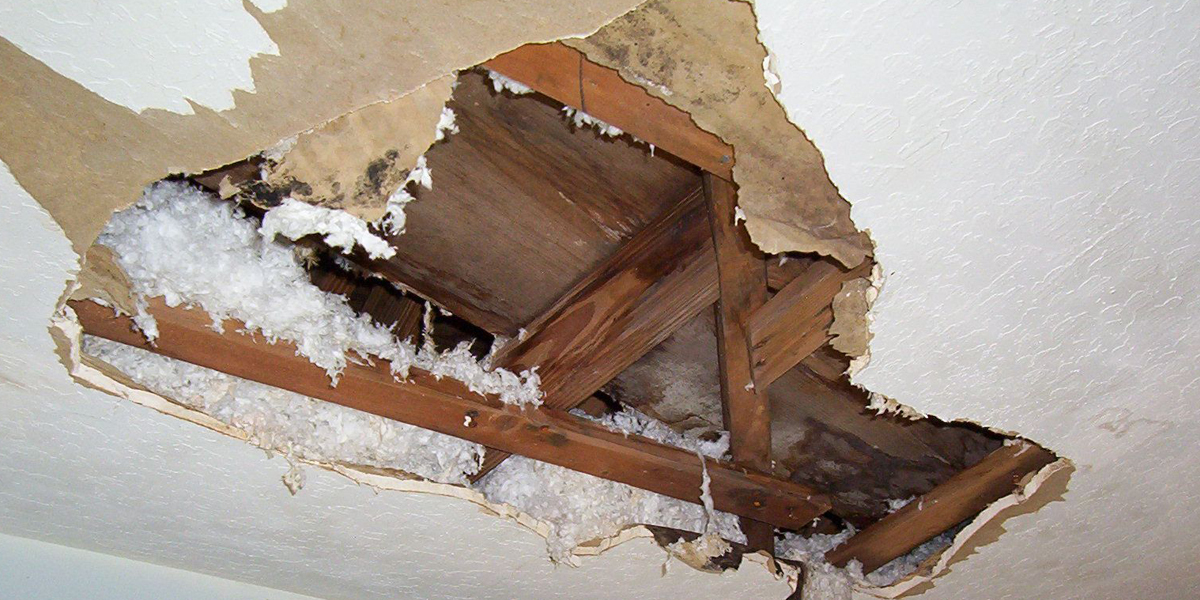ceiling and wall water damage